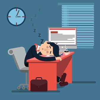 Müder schlafender geschäftsmann bei der arbeit