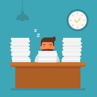 Müder schlafender indikator des geschäftsmannes