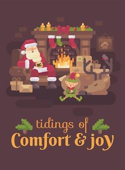 Müder weihnachtsmann mit seinem ren und elf, die am kamin schlafen. weihnachtsgrüße