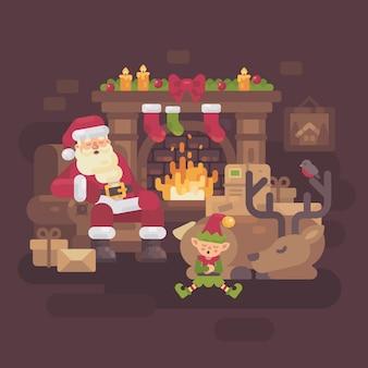 Müder weihnachtsmann mit seinem ren und elf