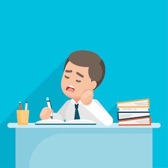 Müdes geschäftsmanngefühl niedergedrückt und mit schreibarbeit im büro, vektorcharakterillustration gelangweilt.