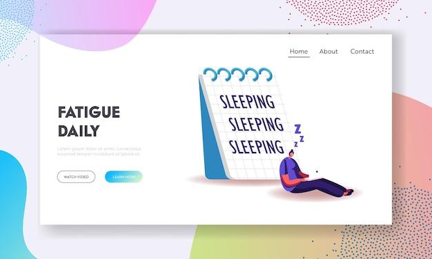Müdigkeit, aufschub, überlastung burnout symptom landing page template.