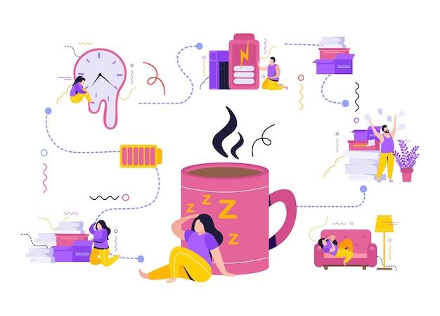 Müdigkeit flache zusammensetzung mit müden menschen mit wenig energie auspacken einkäufe oder auf der couch liegen