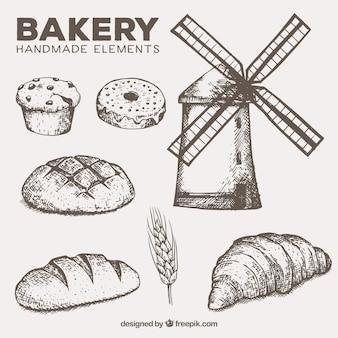 Mühle und handgemachte bäckerei elemente