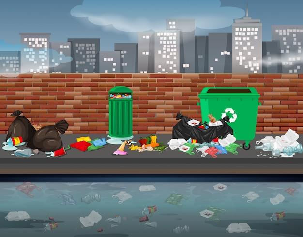 Müll in der stadtlandschaft