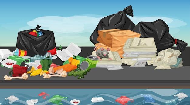 Müll in der straßenszene