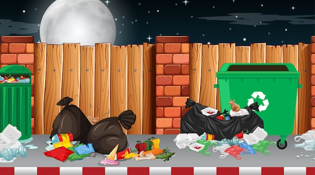 Müll in straßenszene