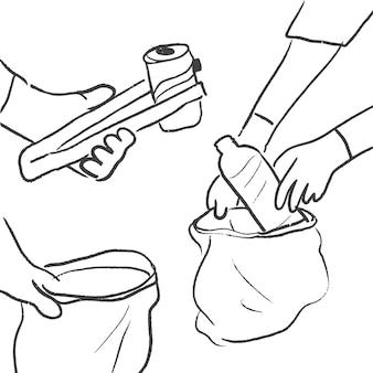Müll sammeln doodle vektor, umweltfreundliches konzept
