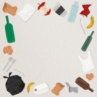 Müll- und abfallgrenze rahmen die meeresverschmutzung ein