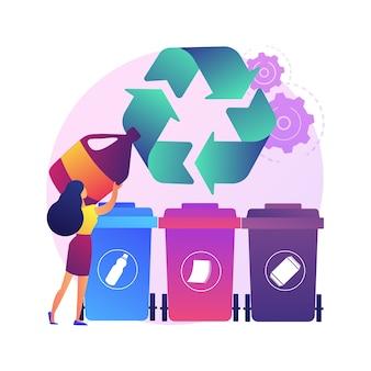 Müllabfuhr und sortierung abstrakte konzeptillustration. sammlung von haushaltsabfällen, lokale entsorgungssysteme, mülltrennung, städtische servicefahrzeuge am straßenrand