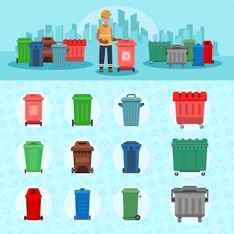 Müllcontainer und reinigerillustration. sauberes stadtkonzept.
