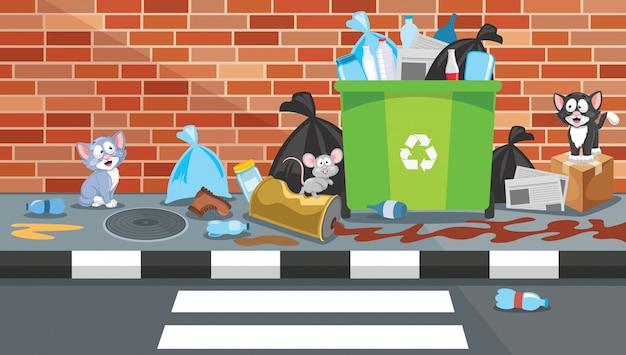 Mülleimer in der straße überladen