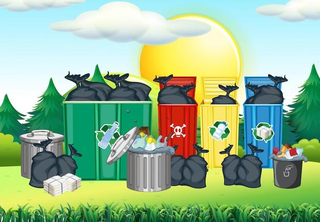 Mülleimer in der unterschiedlichen farbe im park