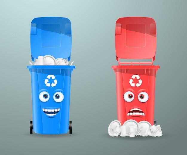 Mülleimer in form von lustigen figuren.