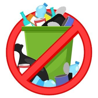 Mülleimer mit durchgestrichenem müll mit stoppschild
