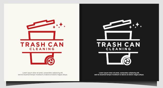 Mülleimer mit linie kunst logo design-vorlage
