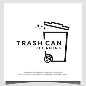 Mülleimer mit strichzeichnungslogo-design-vorlagenvektor