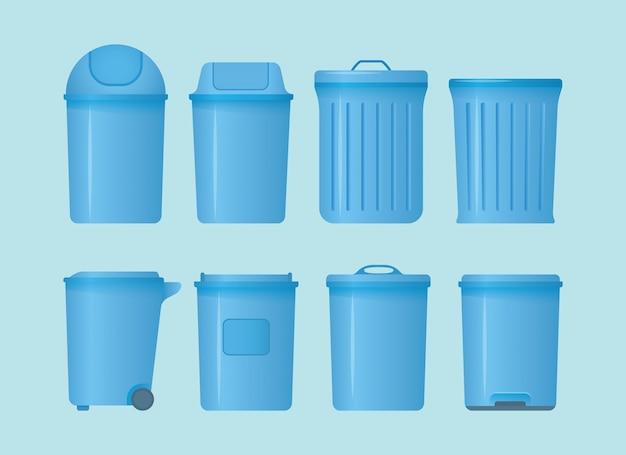Mülleimer-set kollektion mit verschiedenen formen und modellen mit modernem flachen stil und blauer farbe