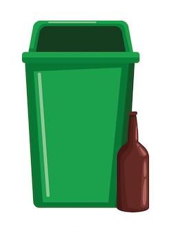 Mülleimer und glasflasche
