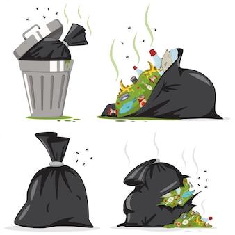 Mülleimer und schwarze tasche mit plastik- und lebensmittelabfällen. abfallvektorkarikatursatz lokalisiert.