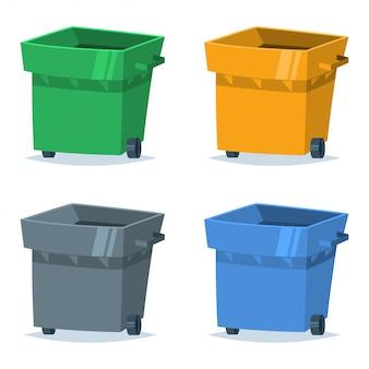 Mülleimer von blauer, grüner, gelber und grauer farbe. vector illustration des sortierens und recyclings von organischen, plastik-, papier- und glasabfällen und -abfällen.