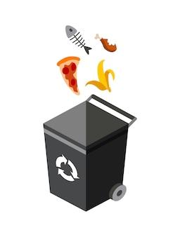 Mülleimer zum sortieren von illustrationsdesign