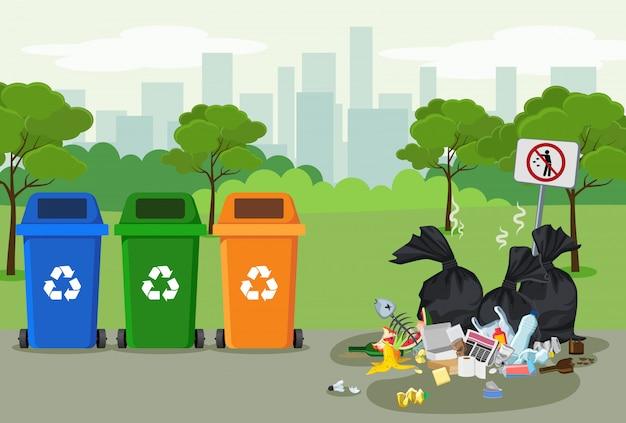 Müllkippe mit müll zum recycling im park. verschiedene arten von abfällen. umweltschutz-infografiken