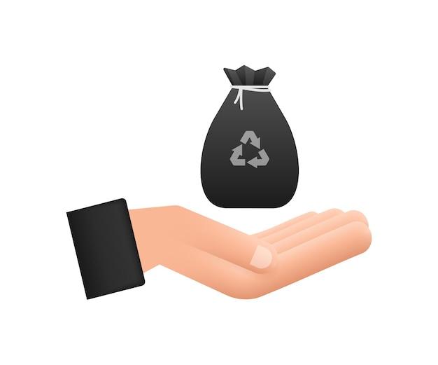 Müllsack in den händen-symbol. müllbeutel. vektorgrafik auf lager.