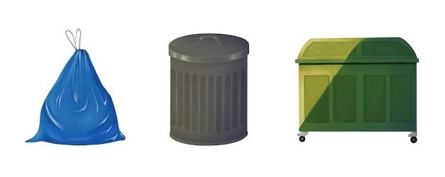 Müllsack, mülleimer, container.