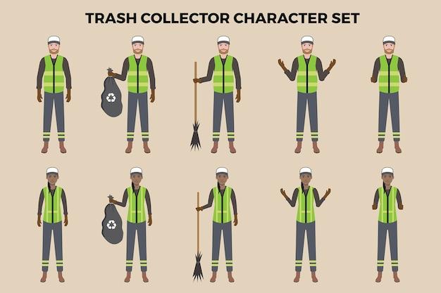 Müllsammler-illustrationssatz