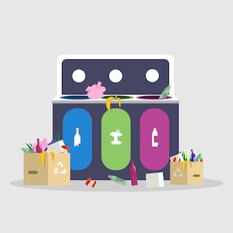 Müllsortierung, flache illustration der trennung farb. abfallwirtschaft, recycling und reduzierung, mülltrennungskonzept. lokalisierter karikaturabfallbehälter mit plastik, glas und biomüll