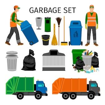 Müllwagen, abfalleimer und kehrmaschine, bunter abfall, der die ikonen eingestellt auf weiß sammelt