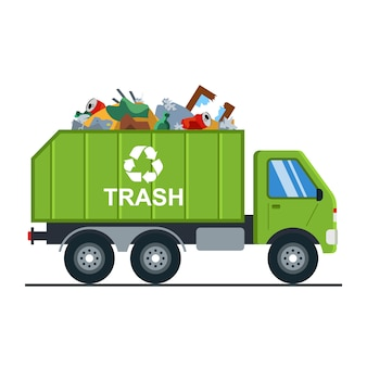 Müllwagen mit müll geht auf die mülldeponie.
