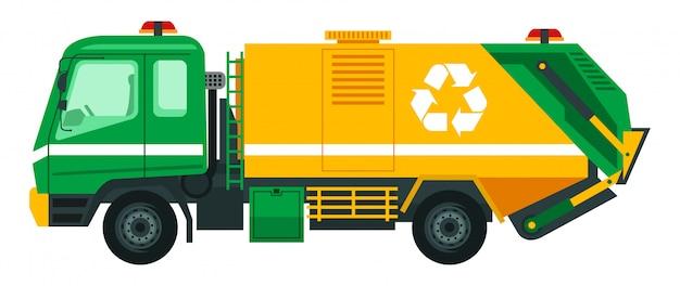 Müllwagen nehmen den müll zum recycling auf