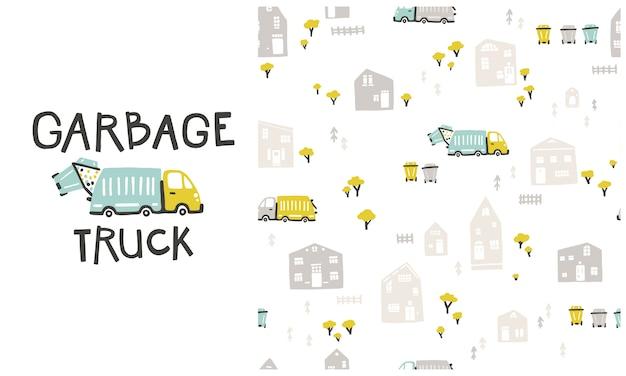 Müllwagen und stadtbild mit häusern, müllsortierbehältern. nahtloses muster und illustration im satz. karikaturillustration im kindlichen handgezeichneten skandinavischen stil.