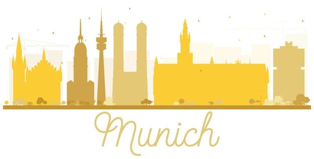 München city skyline goldene silhouette. einfaches flaches konzept für tourismuspräsentation, banner, plakat oder website. geschäftsreisekonzept. stadtbild mit wahrzeichen