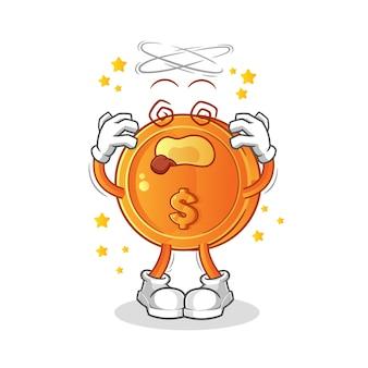 Münze schwindlig kopf maskottchen cartoon