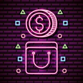 Münze und tasche im neonstil, videospiele im zusammenhang