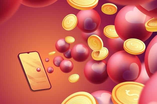 Münzen 3d, die aus telefon herauskommen