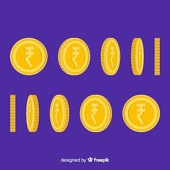 Münzen der indischen rupie eingestellt
