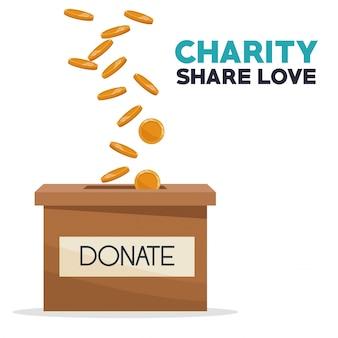 Münzen, die in einer kartonkasten-nächstenliebe teilen, schenkt liebe