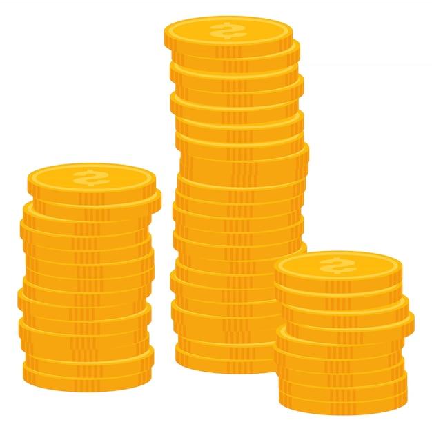 Münzen-dollar-geld, gewinn vom geschäfts-vektor