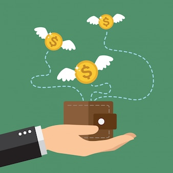 Münzen-dollar mit den flügeln, die über geldbeutel fliegen