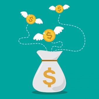 Münzen-dollar mit den flügeln, die über geldsack fliegen