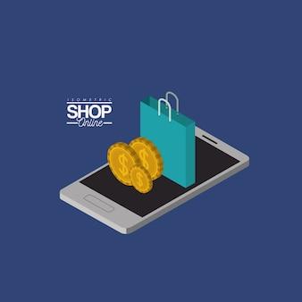 Münzen und einkaufstaschen über smartphone