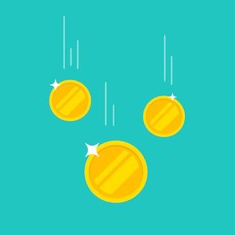 Münzengeld, das die flache karikaturikone lokalisiert auf farbhintergrund fällt oder fällt