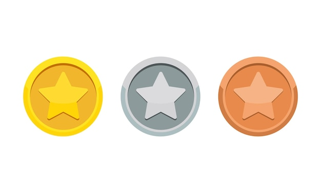 Münzspielmedaille mit dem sternsymbol. gold-, silber- und bronzemedaille. platz 1, 2 und 3 vergeben. vektor auf weißem hintergrund isoliert. eps 10.