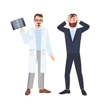 Mürrischer männlicher arzt oder radiologe, der dem verängstigten patienten eine röntgenaufnahme des brustkorbs demonstriert und ihn über seine diagnose informiert. ärztliche beratung und diagnostik. flache karikaturillustration.