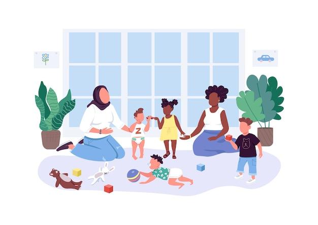 Mütter helfen müttern mit flachen, gesichtslosen charakteren. mutter und baby gruppe. frauen verbringen zeit mit ihren kindern isolierte karikaturillustration für webgrafikdesign und animation