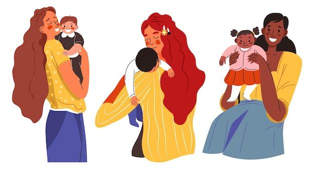 Mütter mit kindern kleinkinder auf mamas händen